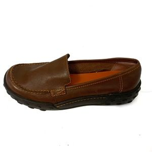 Mia Too Brown Leather Slip On Loafers